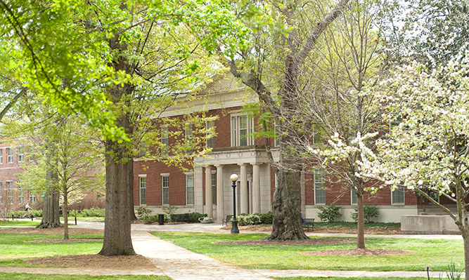 front of hirsch hall in springtime