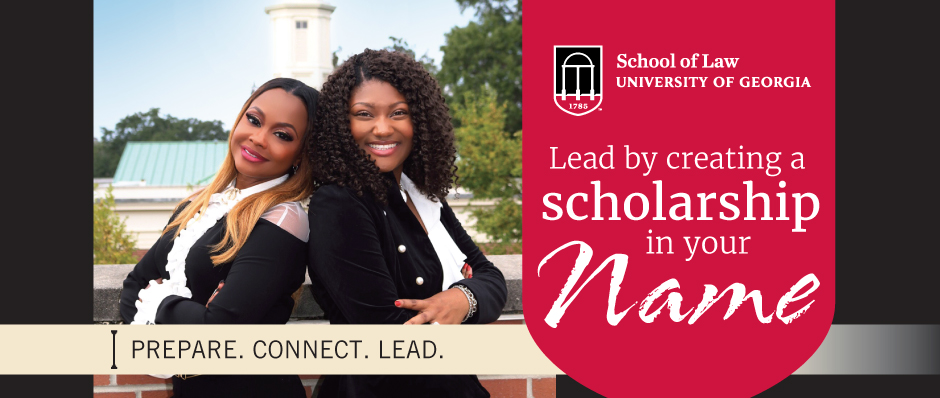 Lead by creating a scholarship in your name. text with students back to back smiling